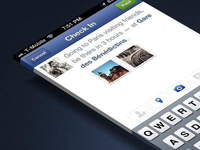 Facebook Checkin Screen iphone app ui redesign checkin places gowalla facebook