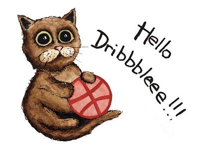Hello Dribbbleee!!! graphic design graphic design character draw hello dribbble cat illustration