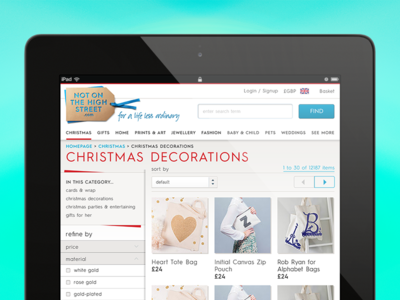 Ipad optimised product listing browsing filter ui ecommerce tablet commerce product listing responsive design tablet