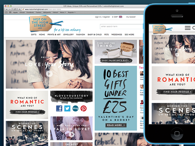 Love Your Story - notonthehighstreet.com m-commerce mcommerce digital campaign valentines day rwd responsive ecommerce