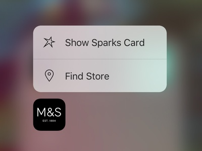 M&S QuickActions menu quick action menu 3dtouch ui ios