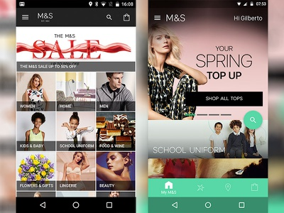 M&S – Before & after Material Design ui android material design