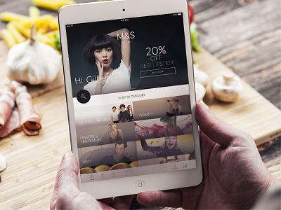 M&S – Tablet concept retail e-commerce ipad ui. retail ipad mini