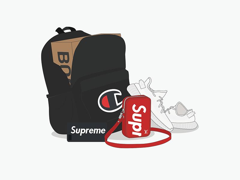 AL x BSB sneakers hype champion adidas yeezy supreme hypebeast illustration