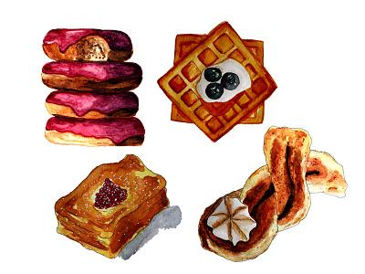 Pastry illustration donut waffle watercolor painting pastry bakery food illustration watercolor illustration aquarell