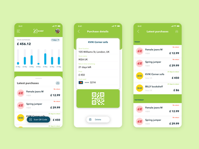 Personal Finance app listing chart typography screen iphone e-receipt shopping transaction cards ios scanning paperless ui finance app receipt qrcode