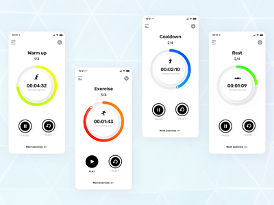 My Interval Timer - HIIT app concept ios app minimalism minimalist vibrant blackandwhite neumorphism soft ui soft timer workout hiit