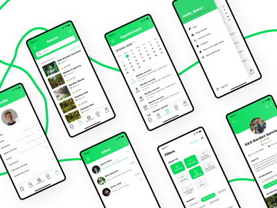 Garden Service booking app concept service booking app appointments minimalistic ios menu filter list mow green garden