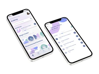 Mindfulness App Concept mockup iphone12 ios soft card ui ux listening navigation bar pattern minimalist modern mind light home screen audio glass relax meditation mindfulness