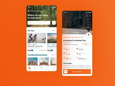 Bike tour app concept sport active explore home card details map nature cycling bike