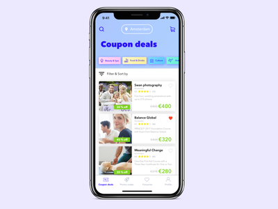 Coupon deals page ui app design ecommerce coupon webshop shopping offers card deals daily ui