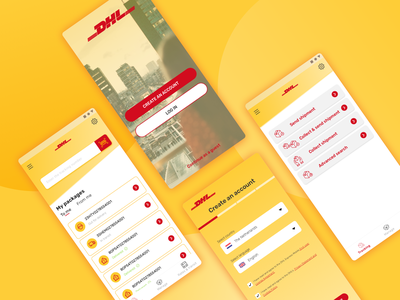 DHL Express App Redesign Concept shipping redesign concept ui ux redesign tracking app delivery dhl ui