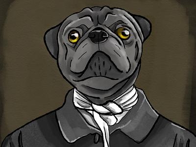 Sir Puggington digital illustrator digital drawing pug dog animal painting digital painting digital art adobe sketch adobe photoshop sketch adobe photoshop illustration drawing