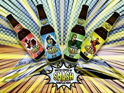 United States of Smash Beer beer bottle beer branding beer label beer label design label product design procreate product vector branding logo design adobe illustrator digital art adobe photoshop illustration drawing