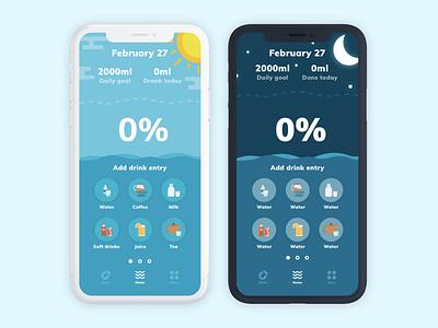 Hydration Tracking App colorful design minimal typography vector logo ux ui flat design app