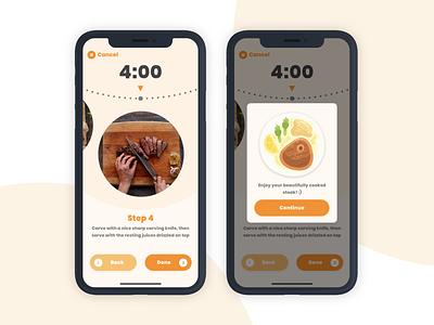 Steak Timer App timer app timer minimal flat colorful design cooking steak ux ui design app