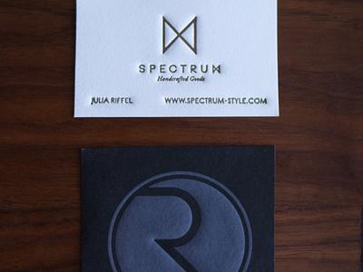 Business Cards spectrum handcrafted letter r logo design letterpress