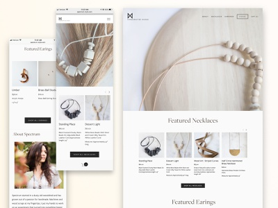 Spectrum Handcrafted jewelry handcrafted squarespace website design