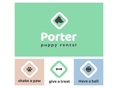 Porter Puppy branding logo dog puppy