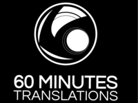 60 Minutes Translations Black & White logo
