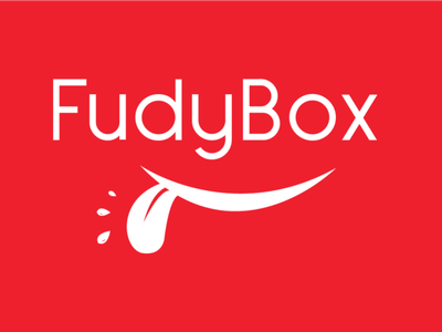 FudyBox Logo (White on Red) illustration vector logo design concept logo design branding typography logo design graphic  design adobe illustrator