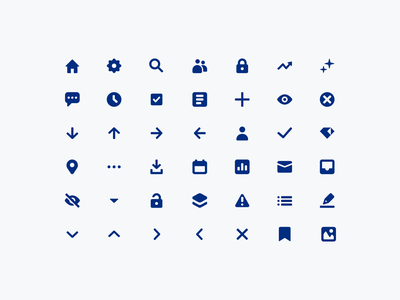 Gem icons chevrons arrows pin clock visibility writing editing content bookmark checklist inbox unlock checkmark analytics silhouette lock home icon design iconography icons