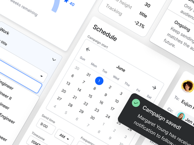 Gem design team work product design dropdown menus toast picker calendar design system