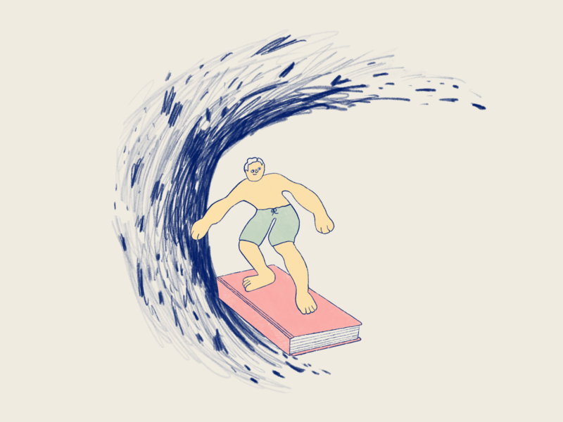 Reading 📚 happy joy loose playful children book illustration procreate illustraion surfing reading