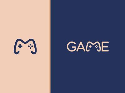 Game logodesign clever unique concept graphic design illustration fonts design branding symbol vector graphics flat joystick game logo wordmark