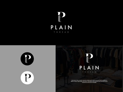 Plain Thread letters typographic presentation 3d logo graphic design ux ui illustration fonts branding vector symbol design creative classic monogram elegent clothing logo logo design