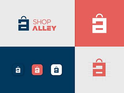 Shop Alley symbol illustration graphic design vector graphics app icons grids presentation brand logo logo mark combonation mark concept bag minimal creative logodesign shop