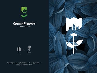 GreenFlower simple concept symbol typography illustration branding vector logo graphic design design greenery city beauty nature presentation gradient combination mark logo design green flower