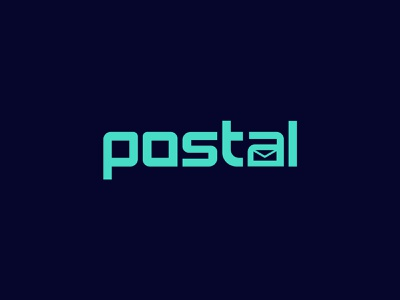 Postal 3d ux ui symbol typography illustration design branding logo envelop fresh creative elegent white space negativespace vector graphic design logo design wordmark postal