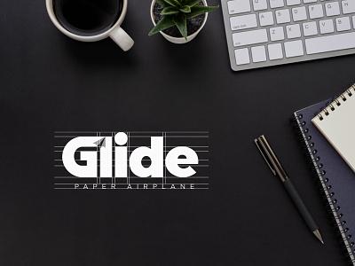 Glide animation 3d ui ux typography illustration design logo branding symbol vector graphic design concept background creative minimal white space paper airplane glide