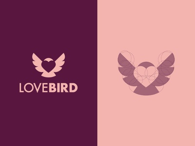 LoveBird icon ux ui typography design branding illustration logo vector symbol graphic design fun white space negative space flat creative minimal logo design bird love