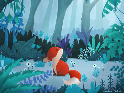Fox in the Forest illustration