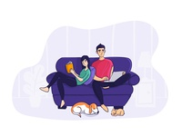 Couch Couple Illustration