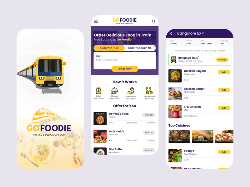 Food in Train App Concept