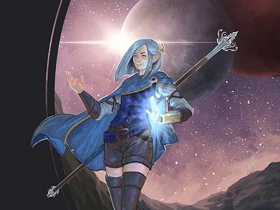 Gray Stars environment design woman stars space portrait moon fantasy environment purple digital painting