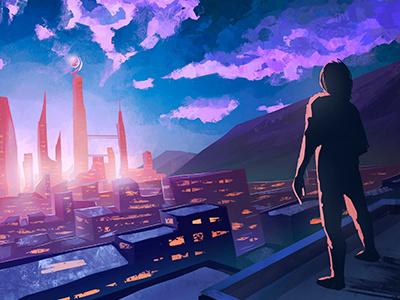 Ambientcloud digitalpainting painting perspective mix music electronic man sunset city environment purple scifi