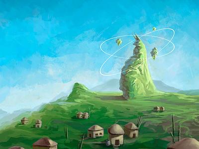 Fox Mountain videogame 2d art digital painting painted fantasy city concept art environment design