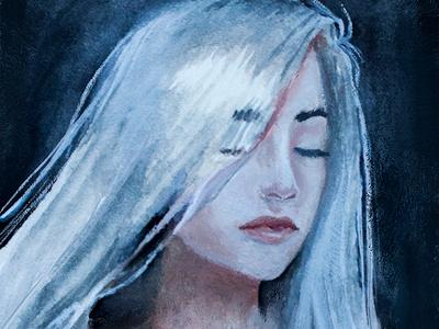 Gray Hair traditional art watercolor portrait white hair woman