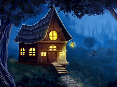 Cabin in the woods. concept art environment design scene night fantasy city cabin