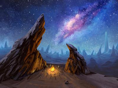 Alien world: Dancing in the fire purple night design environment background landscape alien conceptart fire