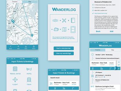 Wanderlog Travel App timeline icons travel app design
