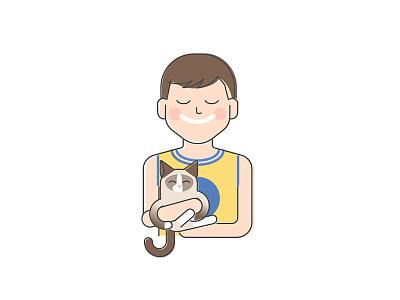 Man and cat ragdoll avatar portrait cat 2d fun flat character illustration