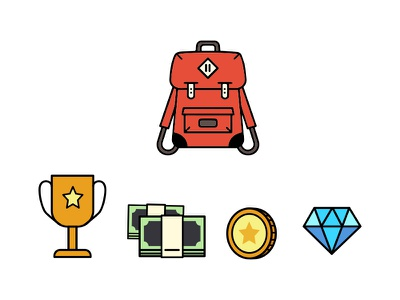 Icon - Backpack And Fortune geometry backpack diamond money graphic design flat icon