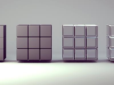 Compartment : Initial Logo Concepts c4d cubes glass