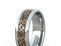 8MM CLASSIC POLISHED TUNGSTEN RING ROSE GOLD CELTIC DRAGON BLACK