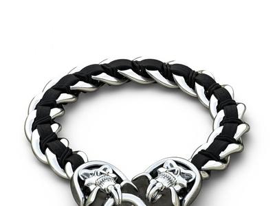 STAINLESS STEEL BRACELET WITH BLACK GENUINE BRAIDED LEATHER MENS stainless steel bracelet camouflage tungsten bands titanium wedding bands for men